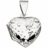Medaillon Herz für 2 Fotos 925 Sterling Silber Anhänger zum Öffnen Liebe