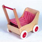 Holz-Puppenwagen karo rot/wss, 50cm, 1 Stück